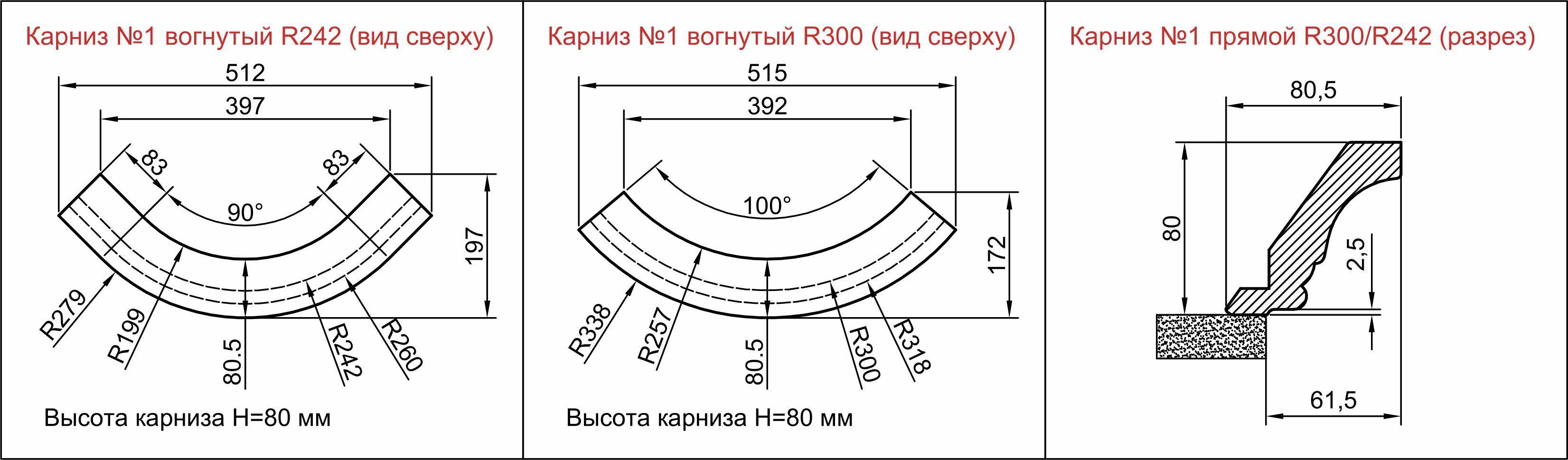 Карниз 6011 для кухонной мебели гнутый и прямой