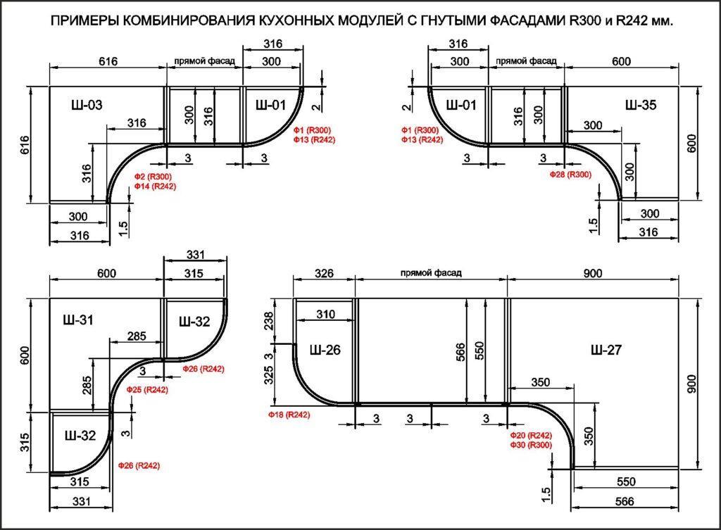 Угловой кухонный модуль с радиусным фасадом