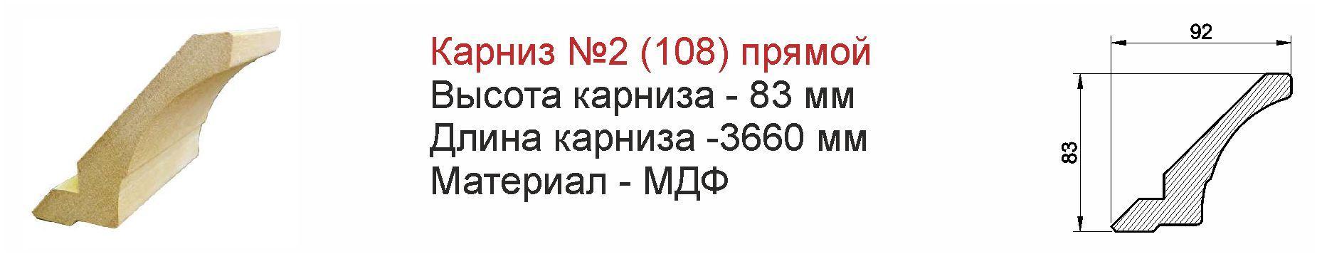 Карниз для кухонной мебели №2 (108) из МДФ